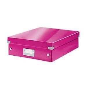 Leitz 6058-00-23 - Boîte de rangement Click & Store, moyen format avec compartiments, en PP, coloris rose métallique