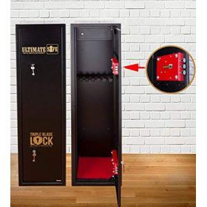 Ultimate Safe Armoire à Fusils Coffre Fort pour Armes à feu pour 6 Carabines, Armoire avec Serrure Triple Blade Lock®