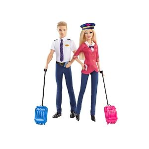 Mattel Barbie & Ken pilotes d'avion Pink Passeport