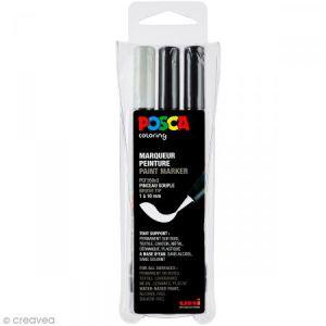 Posca PCF350/3A ASS08 - Etui de 3 marqueurs peinture 350, pointe pinceau, noir (2) / blanc