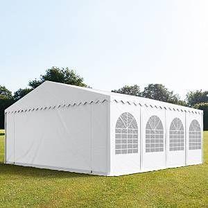 Intent24 Tente de réception 8x8 m - anti-feu H. 2,6m blanc PVC 550g/m² pavillon 100% imperméable.FR