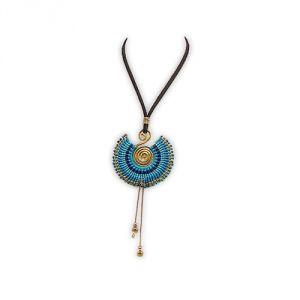 Blue Pearls Nub 3217 E - Collier spirale en métal doré et perles