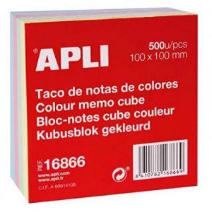 APLI 16866 - Bloc de 500 feuillets 100x100mm 70 g/m², coloris assortis (4)