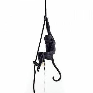 Seletti MONKEY - Suspension d'extérieur Singe suspendu Noir H80cm - Luminaire d'extérieur designé par Alessandro Zambelli