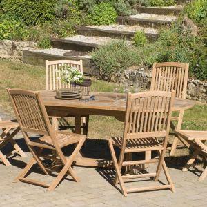 Table de jardin ovale en teck massif 150/200 x 90 x 75 cm