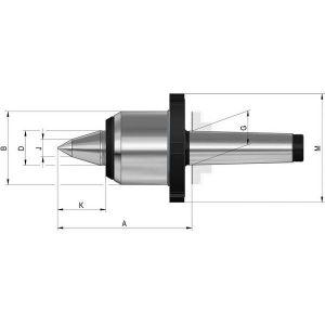 Rohm Pointe tournante à pointe allongée et écrou d'extraction, Taille : 02, MK 4, A 122 mm, B : 70 mm, D : 32 mm, G : 31,267 mm, J : 16 mm, K : 44 mm