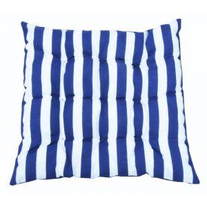 Jardin prive Assise futon carrée Marin - 40x40 cm - Dimensions : 40x40x5 cm - Coloris : rayé bleu et blanc - Réversible - 1 face rayée et 1 face unie bleu