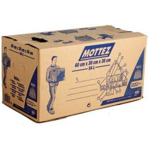 Mottez Carton de déménagement fermeture automatique - 54 l - Charge utile 20 kg