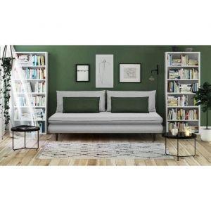 APOLINE Banquette méridienne 3 places Tissu Gris clair/vert Style cl ique L 192 x P 101 cm