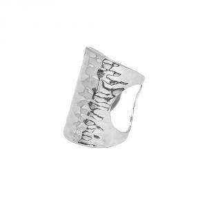 Image de Bague martelée en métal argenté