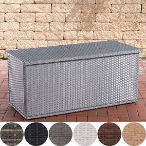CLP Coffre De Rangement en Polyrotin Comfy Fibres Plates I Rangement pour Coussins De Jardin en Résine Tressée 125, Gris