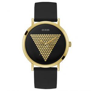 Guess Montre W1161G1 - IMPRINT Boitier Acier Doré Bracelet Silicone Noir Cadran Noir Homme