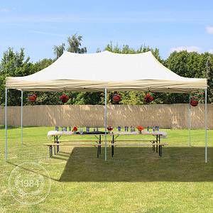 Intent24 Tente Pliante 3 x 6 m ECONOMY PE 300 g/m² beige + Housse / Barnum Chapiteau Pliant Tonnelle Stand Paddock Réception.FR