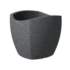 Scheurich 55360 256/40 Wave Globe Cubo Pot De Fleurs Plastique Granit Noir 39 X 39 X 36 Cm