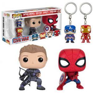 Funko Figurines Pop! Captain Amarica, Iron Man, Hawkeye et Spiderman