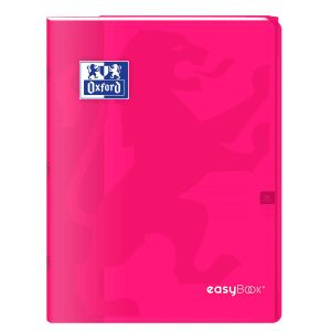 Oxford 400100062 EasyBook Cahier agrafé 24 x 32 cm 96 pages 90 g grands carreaux seyès Rose