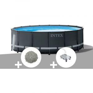 Intex Kit piscine tubulaire Ultra XTR Frame ronde 5,49 x 1,32 m + 20 kg de zéolite + Robot nettoyeur
