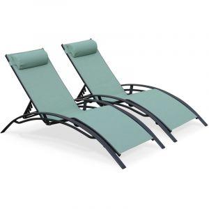 Alice's Garden Duo de bains de soleil en aluminium et textilène Louisa Vert de gris