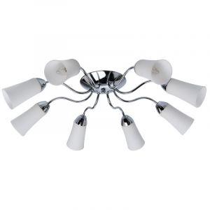 MW-Light DeMarkt 638010808 Plafonnier Design Moderne à 8 Lumiéres en Métal couleur Chrome Globes en Verre Blanc Mat pour Salon Chambre Salle à Manger 8x60W E14