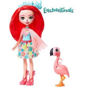 Mattel Enchantimals Mini-poupée Fanci Flament et Figurine Animale Swash, aux cheveux rouges avec jupe à motifs en tissu, jouet enfant, GFN42