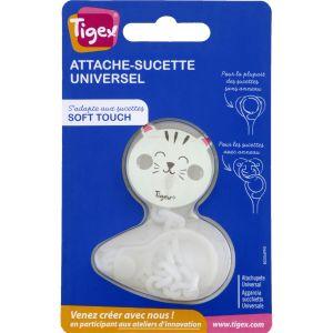 Tigex Attache-sucette Universel Soft Touch Blanc - L'attache-sucette