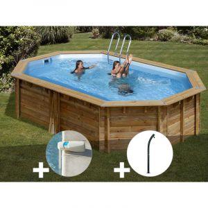 Sunbay Kit piscine bois Cannelle 5,51 x 3,51 x 1,19 m + Alarme + Douche