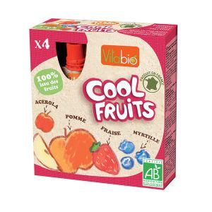 KaliBio Cool Fruits: Compote à boire Pomme Fraise Myrtille 4 x 90g