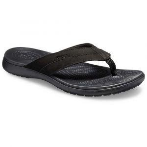 Crocs Santa Cruz Leather Flip M, Chaussures de Plage & Piscine Homme, Noir Black 060b, 45/46 EU