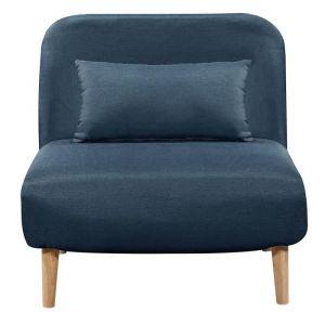 BEDZ Banquette BZ 1 place - Tissu bleu pétrole - Style scandinave - L 85 x P 90 cm - BZ - 1 place - Tissu bleu pétrole - Scandinave - L 85 x P 65 cm - Ferme