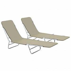 VidaXL Chaise longue pliable 2 pcs Taupe