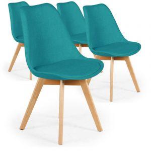 Declikdeco Lot De 4 Chaises Scandinaves en Tissu Bleu Vert SWEDEN