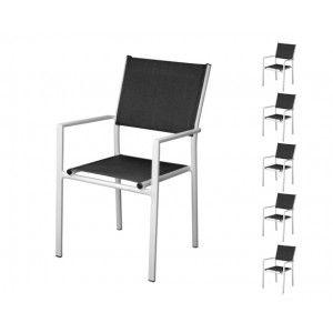 Proloisirs Thema - Fauteuil de jardin empilable en aluminium et textilène (lot de 6)