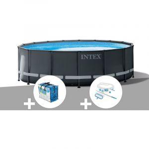 Intex Kit piscine tubulaire Ultra XTR Frame ronde 5,49 x 1,32 m + Bâche à bulles + Kit d'entretien