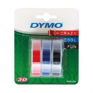 Dymo S0847750 - 3 rouleaux ruban de marquage 3D auto-collant noir, bleu, rouge (0,9 cm x 3 m)