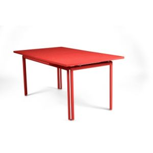 Fermob Costa - Table de jardin carrée - rouge piment/allonges/L 160-240cm/PxH 90x73cm