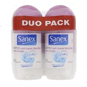 Sanex Dermo Anti-Traces Blanches - Déodorant roll-on anti-transpirant 24h ectiv complex