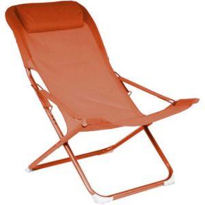 Proloisirs Chaise relax en acier et toile Easy (Lot de 2) Paprika