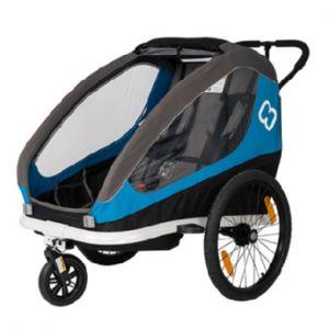 Hamax Traveller Remorque Vélo bras de bicyclette et roue de poussette inclus, blue/grey Remorques pour enfant