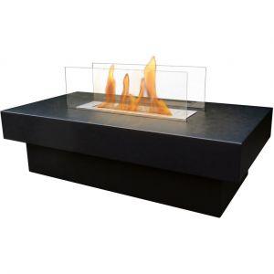 Purline Table de salon avec cheminée bio-éthanol