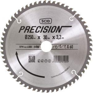 SCID Lame pour machines stationnaires - Epaisseur 3,2 mm - 60 dents - Diamètre 250 mm - Alésage 30 mm