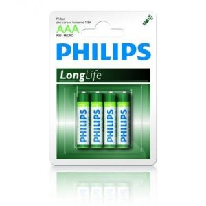 Philips Longlife - Pack de 4 piles R03 Micro AAA
