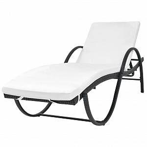 VidaXL Chaise longue Résine tressée Noir