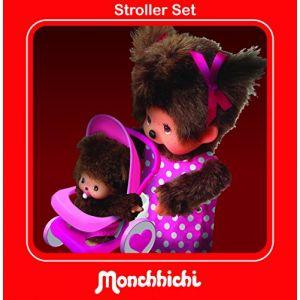 Bandai Peluche Monchhichi ensemble maman, poussette et bébé 20 cm