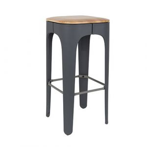 White Label Tabouret de bar bois 73cm Up High Gris foncé