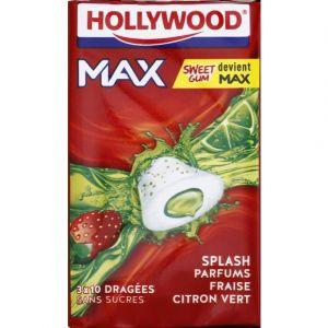 Hollywood Chewing-gum parfums fraise citron vert - Max - Les 3 étuis de 22g