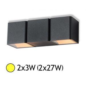 Vision-El Applique murale double LED 2x3W (2x27W) IP54 Blanc chaud 3000°K Cube Anthr