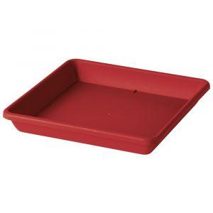 Deroma Soucoupe Carrée Ponza - 33x33x4,7cm - Rouge griotte - Plastique injecté - Résistant au gel, résistant aux UV, recyclable, modèles déposés