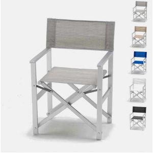 Beach and Garden Design Chaise transat style réalisateur de plage pliante aluminium textilene LUSSO | Gris