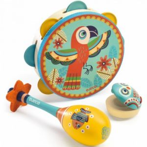 Djeco Set de tambourin, castagnette et maracas Animambo