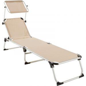 TecTake Transat AURELIE - chaise longue de jardin, bain de soleil, transat de plage - beige